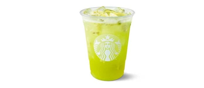 Kiwi Starfruit Starbucks Refresher in take-out cup