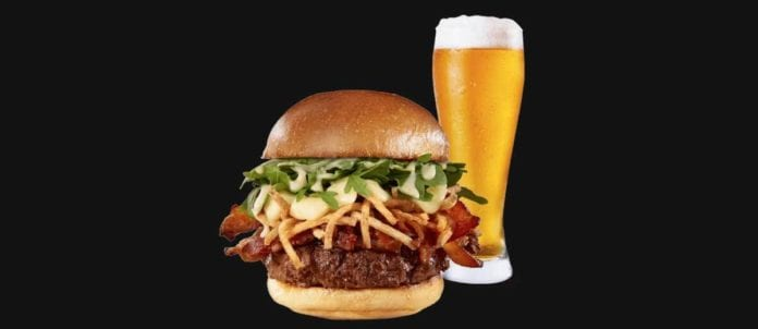 Burger and beer from The WORKS' redesigned menu