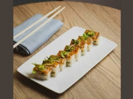 plant-based sushi roll from MILA