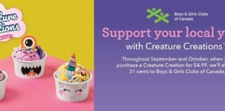 "Baskin-Robbins invites Canadians to support Boys and Girls Club of Canada with new fundraiser featuring ""Creature Creations"""